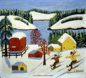 Maud Lewis painting of children skiing.